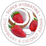 Kokomo Tanning Lotion - Super Hydrating logo with photo of open coconut and pink strawberries.